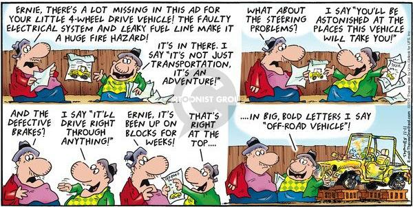 Comic Strip Bob Thaves Tom Thaves  Frank and Ernest 2012-11-11 off-road