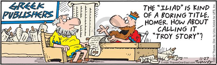 Comic Strip Bob Thaves Tom Thaves  Frank and Ernest 2012-11-27 literature
