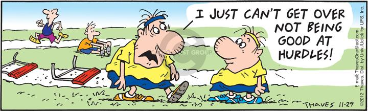 Cartoonist Bob Thaves Tom Thaves  Frank and Ernest 2012-11-29 track field