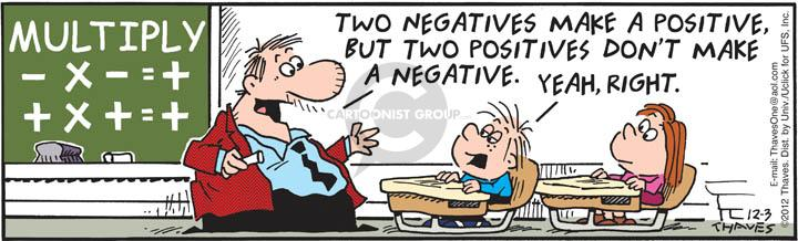 Multiply. - x - = +.  + x + = +.  Two negatives make a positive, but two positives dont make a negative.  Yeah, right.