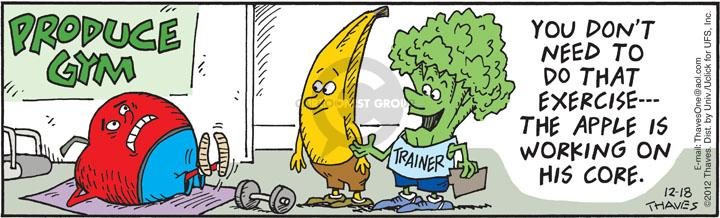 Comic Strip Bob Thaves Tom Thaves  Frank and Ernest 2012-12-18 fitness trainer
