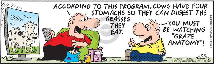 Comic Strip Bob Thaves Tom Thaves  Frank and Ernest 2012-12-21 cow