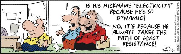 Comic Strip Bob Thaves Tom Thaves  Frank and Ernest 2013-02-04 electrical
