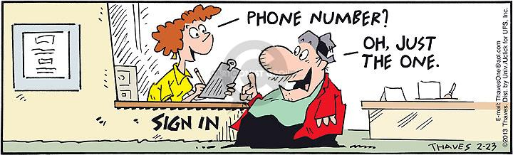 Comic Strip Bob Thaves Tom Thaves  Frank and Ernest 2013-02-23 telephone