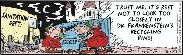 Comic Strip Bob Thaves Tom Thaves  Frank and Ernest 2013-04-03 garbage