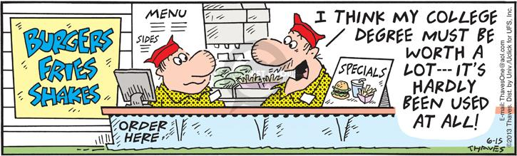 Cartoonist Bob Thaves Tom Thaves  Frank and Ernest 2013-06-15 ordering food