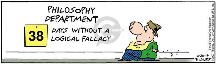 Comic Strip Bob Thaves Tom Thaves  Frank and Ernest 2013-06-26 logical fallacy
