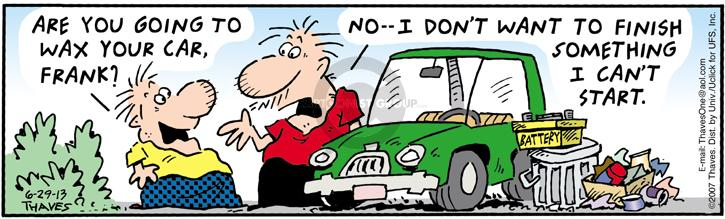 Comic Strip Bob Thaves Tom Thaves  Frank and Ernest 2013-06-29 automotive