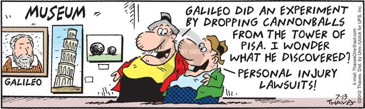 Comic Strip Bob Thaves Tom Thaves  Frank and Ernest 2013-07-13 gravity