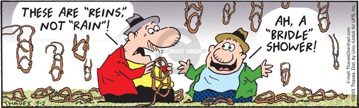 Comic Strip Bob Thaves Tom Thaves  Frank and Ernest 2013-09-02 horse