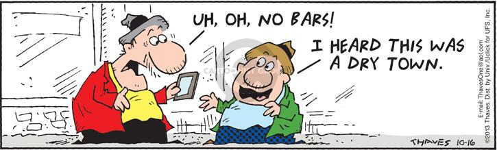 Comic Strip Bob Thaves Tom Thaves  Frank and Ernest 2013-10-16 signal