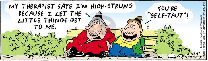 Comic Strip Bob Thaves Tom Thaves  Frank and Ernest 2013-11-18 tension
