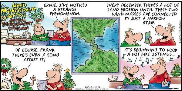 Comic Strip Bob Thaves Tom Thaves  Frank and Ernest 2013-12-22 aerial