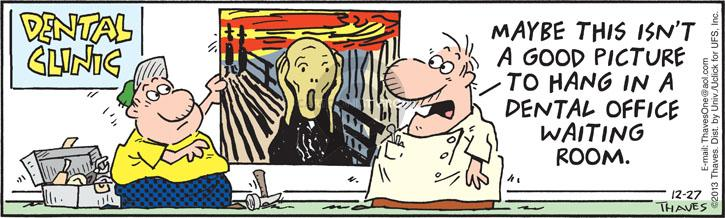 Comic Strip Bob Thaves Tom Thaves  Frank and Ernest 2013-12-27 scream