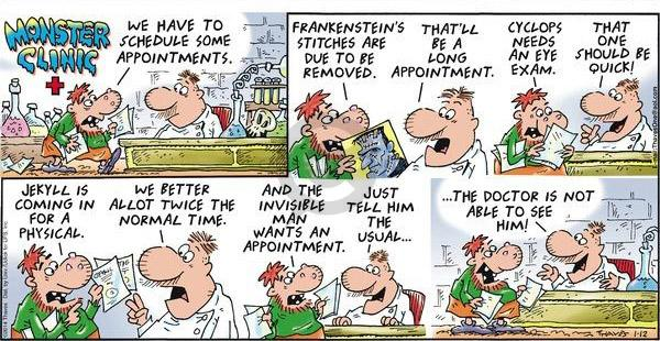 Comic Strip Bob Thaves Tom Thaves  Frank and Ernest 2014-01-12 appointment