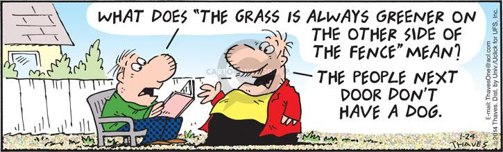 Comic Strip Bob Thaves Tom Thaves  Frank and Ernest 2014-01-24 green