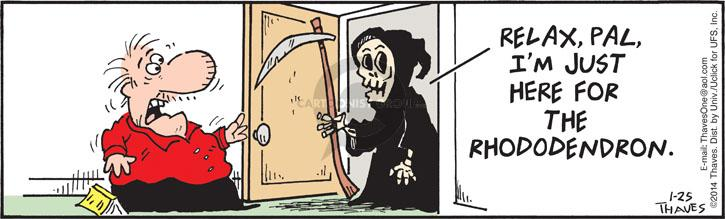 Comic Strip Bob Thaves Tom Thaves  Frank and Ernest 2014-01-25 death