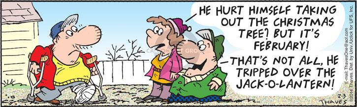 Comic Strip Bob Thaves Tom Thaves  Frank and Ernest 2014-02-03 injury