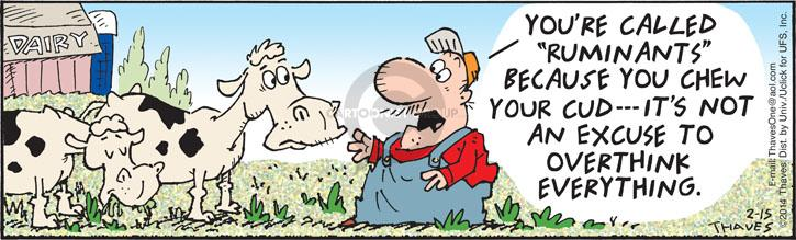 Comic Strip Bob Thaves Tom Thaves  Frank and Ernest 2014-02-15 cow