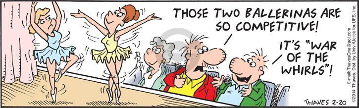 Comic Strip Bob Thaves Tom Thaves  Frank and Ernest 2014-02-20 dancer