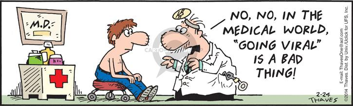 Comic Strip Bob Thaves Tom Thaves  Frank and Ernest 2014-02-24 virus