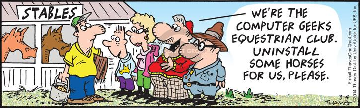 Comic Strip Bob Thaves Tom Thaves  Frank and Ernest 2014-03-04 horse