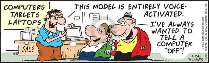 Comic Strip Bob Thaves Tom Thaves  Frank and Ernest 2014-04-24 voice