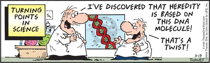 Turning points in science.  Ive discovered that heredity is based on this DNA molecule!  Thats a twist!