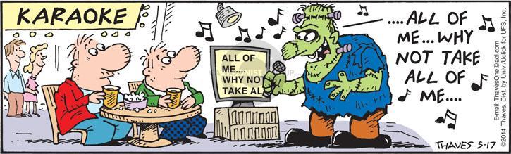 Comic Strip Bob Thaves Tom Thaves  Frank and Ernest 2014-05-17 monster