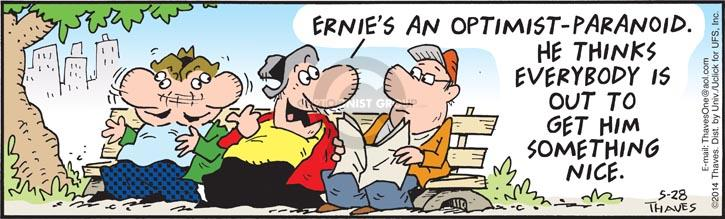 Cartoonist Bob Thaves Tom Thaves  Frank and Ernest 2014-05-28 optimist