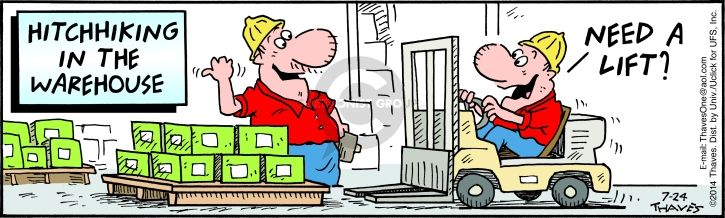 Comic Strip Bob Thaves Tom Thaves  Frank and Ernest 2014-07-24 lift