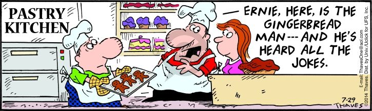 Cartoonist Bob Thaves Tom Thaves  Frank and Ernest 2014-07-29 pastry