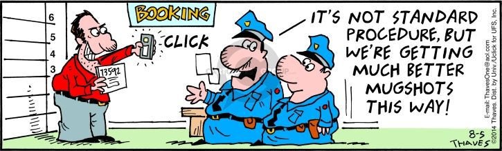 Comic Strip Bob Thaves Tom Thaves  Frank and Ernest 2014-08-05 police