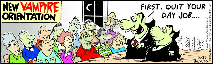 Comic Strip Bob Thaves Tom Thaves  Frank and Ernest 2014-08-23 first day