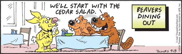 Well start with the cedar salad.  Beavers dining out.