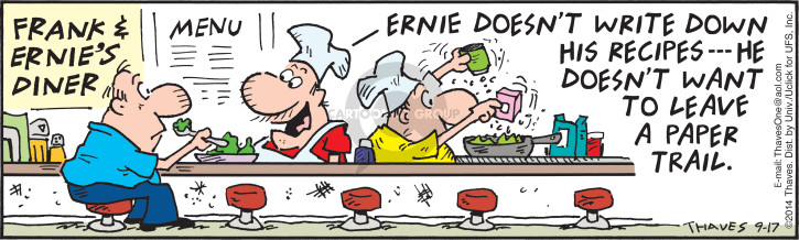 Comic Strip Bob Thaves Tom Thaves  Frank and Ernest 2014-09-17 trail