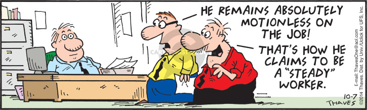 Comic Strip Bob Thaves Tom Thaves  Frank and Ernest 2014-10-07 motion