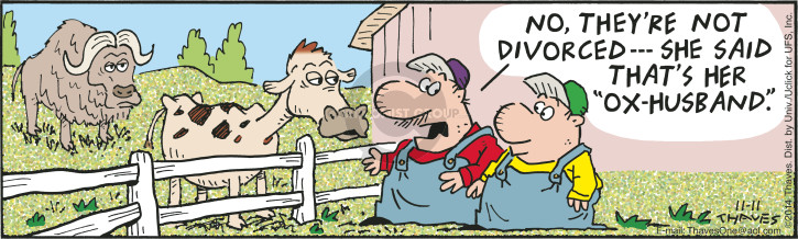 Comic Strip Bob Thaves Tom Thaves  Frank and Ernest 2014-11-11 cow