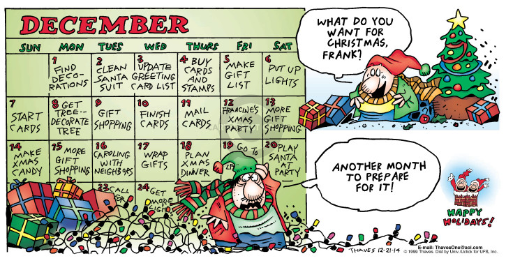Comic Strip Bob Thaves Tom Thaves  Frank and Ernest 2014-12-21 shopping list