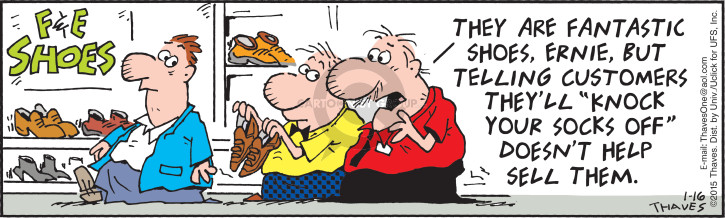 Comic Strip Bob Thaves Tom Thaves  Frank and Ernest 2015-01-16 surprise