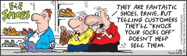 Cartoonist Bob Thaves Tom Thaves  Frank and Ernest 2015-01-16 salesman