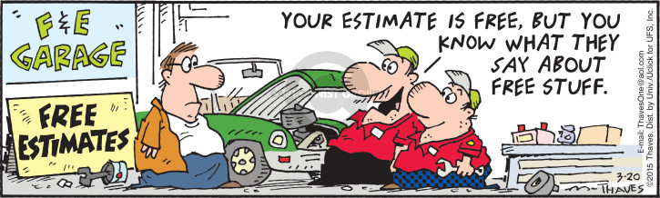 Comic Strip Bob Thaves Tom Thaves  Frank and Ernest 2015-03-20 automobile maintenance