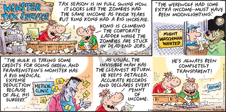 Comic Strip Bob Thaves Tom Thaves  Frank and Ernest 2015-03-29 income tax