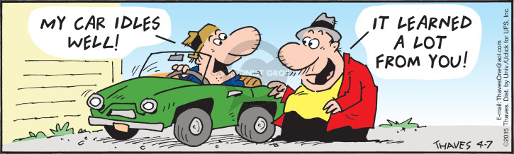 Comic Strip Bob Thaves Tom Thaves  Frank and Ernest 2015-04-07 lazy