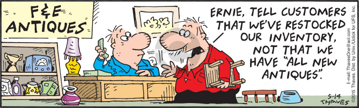 Comic Strip Bob Thaves Tom Thaves  Frank and Ernest 2015-05-14 stock