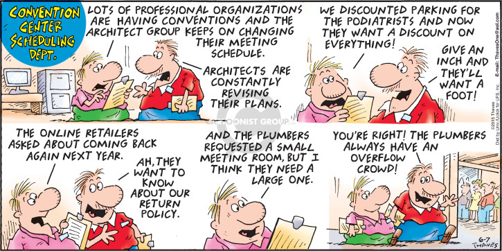Comic Strip Bob Thaves Tom Thaves  Frank and Ernest 2015-06-07 meeting