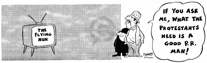 Cartoonist Bob Thaves Tom Thaves  Frank and Ernest 1972-11-24 public relations