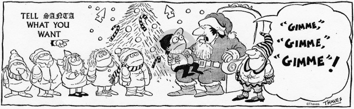 Comic Strip Bob Thaves Tom Thaves  Frank and Ernest 1972-12-15 Christmas list