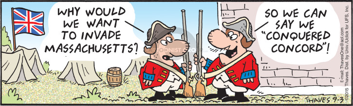 Cartoonist Bob Thaves Tom Thaves  Frank and Ernest 2015-09-03 revolutionary war