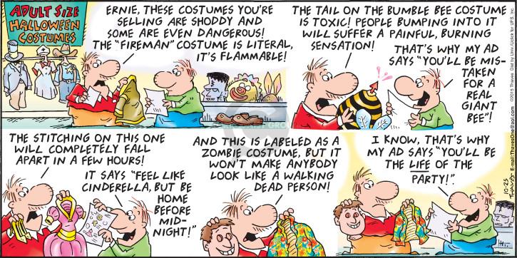 Comic Strip Bob Thaves Tom Thaves  Frank and Ernest 2015-10-25 Halloween